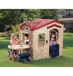 Casuta picnic cu terasa - maro - Little Tikes