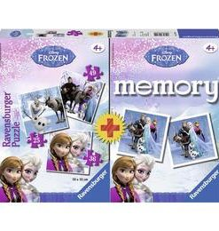 Puzzle + Joc memory frozen 3 buc in cutie 25/36/49 piese - Ravensburger