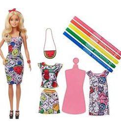 Set de joaca Mattel, Barbie Crayola, cu haine de schimb ce se pot picta, 5 ani+
