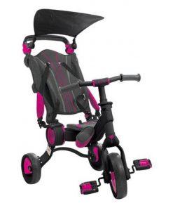 Tricicleta pliabila copii multifunctionala 4 in 1, Negru Roz, Toimsa Galileo, 10-36 luni