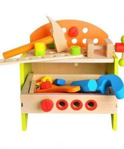 Jucarie din lemn 2 in 1 Banc de lucru si Cutie cu scule cu accesorii incluse Kruzzel MY17253
