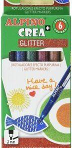 Set Alpino Crea+ Glitter - marker, 6 buc.