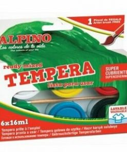 Tempera lavabila Alpino, 6 culori x 16ml + pensula