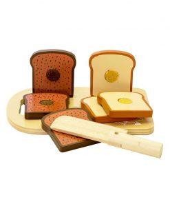 Set blat de taiat cu paine de jucarie, din lemn, MamaMemo