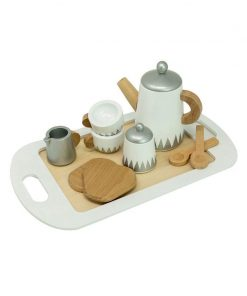 Set ceai cu tava servire de jucarie, din lemn, MamaMemo