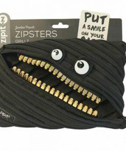 Penar cu fermoar, Zipit Grillz Monsters Jumbo - negru cu dinti aurii