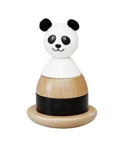 Jucarie educativa stivuit si sortat 10x15 cm din lemn FSC, model panda, +1 ani, byAstrup
