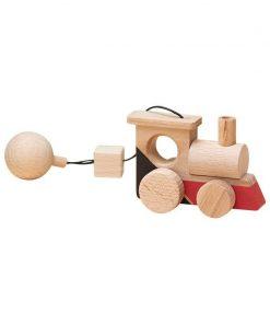 Jucarie din lemn locomotiva, colorat, pentru carusel / centru de activitati, Mobbli