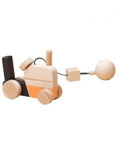 Jucarie din lemn tractor, colorat, pentru carusel / centru de activitati, Mobbli