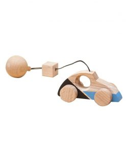 Jucarie din lemn masina de curse, colorat, pentru carusel / centru de activitati, Mobbli