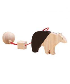 Jucarie din lemn urs polar, natur-negru, pentru carusel / centru de activitati, Mobbli