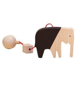 Jucarie din lemn elefant, natur-negru, pentru carusel / centru de activitati, Mobbli