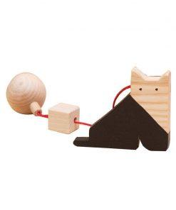 Jucarie din lemn pisica, natur-negru, pentru carusel / centru de activitati, Mobbli