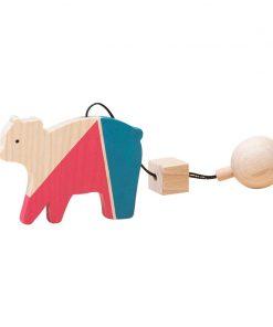 Jucarie din lemn urs, colorat, pentru carusel / centru de activitati, Mobbli