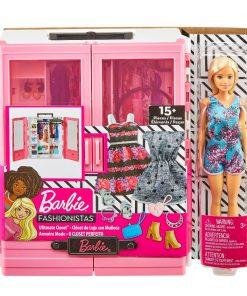 Set de joaca Barbie Fashionistas, Dressing si papusa
