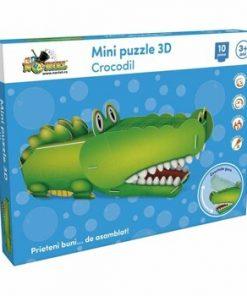 Mini Puzzle 3D Crocodil, 10 piese