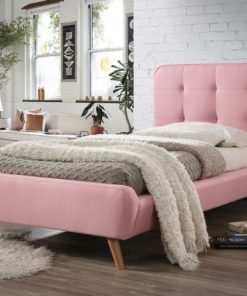 Paturi dormitor de o persoana Tiffany, pentru saltea 90x200 cm roz