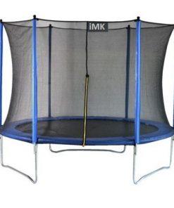 Trambulina iMK pentru copii cu sistem de protectie, Diametru 244 cm, Inaltime 59 cm,Materiale care combat razele UV, Plasa rezistenta de 180 cm, Structura de metal, Asigura siguranta si confort, Maxim 110 kg