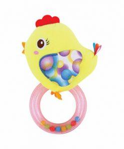 Jucarie zornaitoare din plus, Chicken, 18,5 cm, cu inel