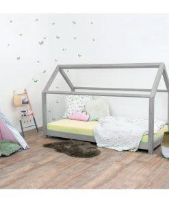 Pat pentru copii, din lemn de molid fără bariere de protecție laterale Benlemi Tery, 90 x 190 cm, gri