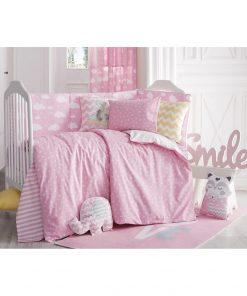 Lenjerie de pat cu cearceaf pentru copii Apolena Carino, 100 x 150 cm, roz