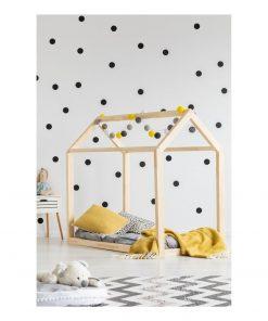 Cadru pat din lemn de pin, în formă de căsuță Adeko Mila MN, 140 x 200 cm