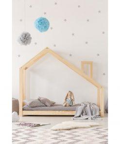 Cadru pat din lemn de pin, în formă de căsuță Adeko Mila DMS, 100 x 200 cm