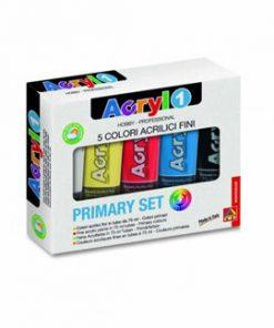 Tempera acrilica Morocolor Primo 75 ml, 5 culori de baza: alb, galben, rosu, albastru