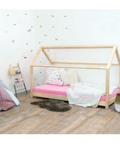 Pat pentru copii, din lemn de molid fără bariere de protecție laterale Benlemi Tery, 120 x 200 cm