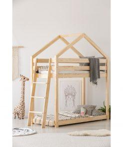 Cadru pat supraetajat din lemn de pin, în formă de căsuță Adeko Mila DMPB, 90 x 160 cm