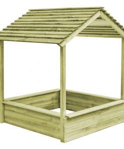vidaXL Casă de joacă și groapă de nisip, 128x120x145 cm, lemn de pin