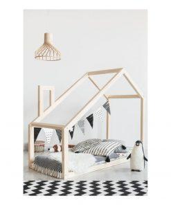 Cadru pat din lemn de pin, în formă de căsuță Adeko Mila DM, 80 x 140 cm