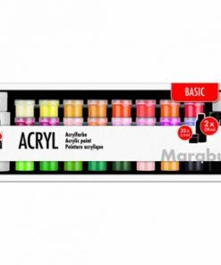 Set culori acrilice Basic, Marabu, 32 x 3.5 ml