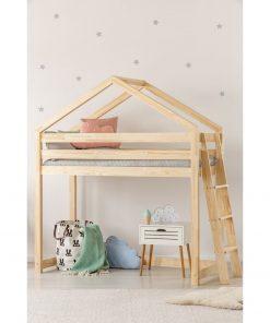Cadru pat supraetajat din lemn de pin, în formă de căsuță Adeko Mila DMPBA, 90 x 200 cm