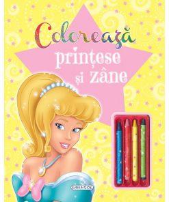 Carte de colorat Printese si zane Girasol, creioane incluse, 5 ani+