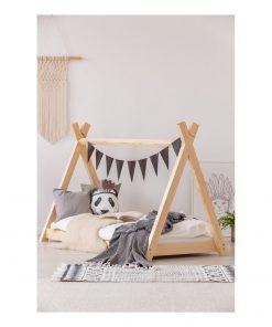 Cadru pat din lemn de pin, în formă de căsuță Adeko Mila TP, 80 x 160 cm