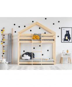 Cadru pat supraetajat din lemn de pin, în formă de căsuță Adeko Mila DMP, 80 x 190 cm