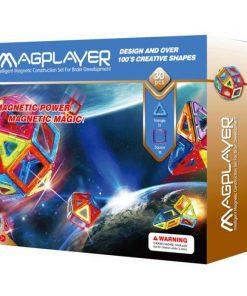 Joc de constructie magnetic Magplayer, 30 piese, 29 x 25 x 5.5 cm, 3 - 10 ani