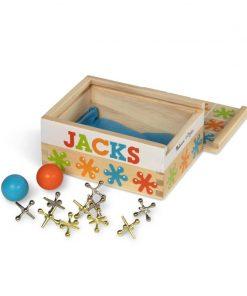 Joc de societate Jacks Melissa & Doug, 10 mufe metalice, 12 x 9 cm, Multicolor