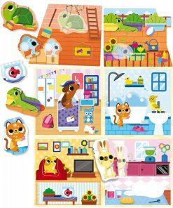 Joc Montessori Casuta animalelor de companie Lisciani, 3 ani+, 24 piese