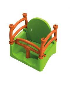 Leagan pentru copii 3 in 1 Mykids, 27 x 29 x 35 cm, maxim 25 kg, 3 ani+, Verde/Portocaliu