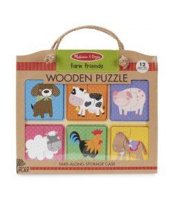 Puzzle lemn Prietenii de la Ferma Melissa & Doug, 12 piese, 2 ani+