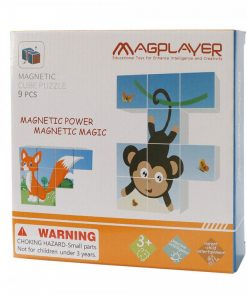 Puzzle cubic magnetic Animalute vesele Magplayer, 9 piese, plastic, 3 ani+