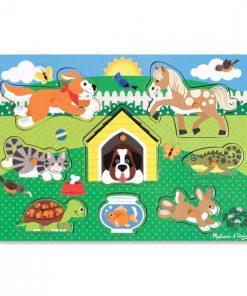 Puzzle din lemn Animalele de companie, 8 piese, 3 ani+