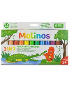Set creioane retractabile Malinos, 12 culori, 3 ani+