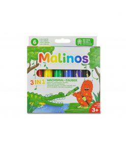 Set creioane retractabile Malinos, 6 culori, 3 ani+