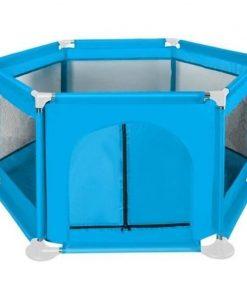 Tarc de joaca copii Iso Trade, Textil, 125 x 65 cm, sarcina maxima 50 kg, 1 an+, Albastru