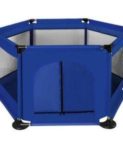Tarc de joaca copii Iso Trade, 125 x 110 x 65 cm, ABS, tevi otel, maxim 50 kg, 3 luni+, Albastru