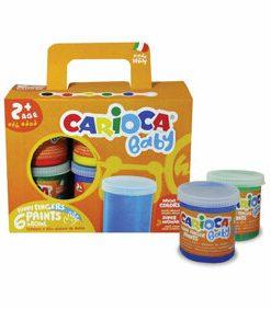 Tempera super lavabila Carioca Baby Finger Paint , pentru pictura cu mana, 6 culori x 80ml