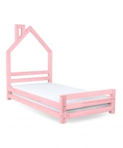 Pat din lemn de molid pentru copii Benlemi Wally,120x200cm, roz